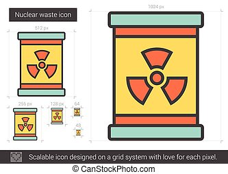 Nuclear waste line icon. - Nuclear waste line icon for...