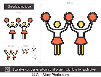 Cheerleading line icon. - Cheerleading vector line icon...