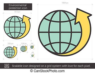 Environmental protection line icon. - Environmental...