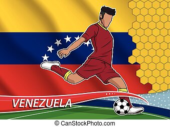 Soccer team player in uniform venezuela. - Vector...