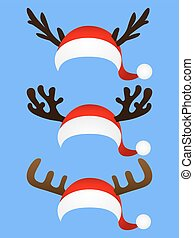 Set of funny hat  Santa Claus with reindeer horns