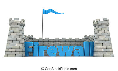firewall - 3d illustration of firewall protection concept