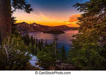 Crater Lake National Park Oregon at Sunset Wizard Island...