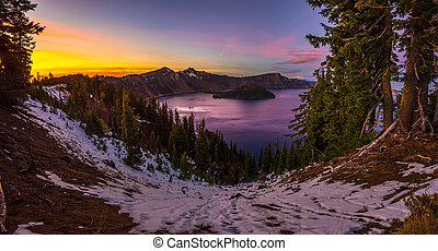 Crater Lake National Park Oregon at Sunset Panoramic Shot...
