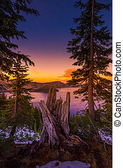 Crater Lake National Park Oregon at Sunset Vertical...