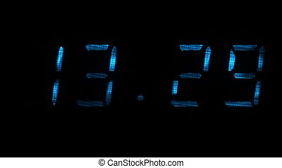 Digital clock shows the time of 13 hours 29 minutes to 13...