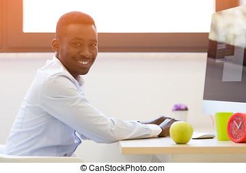 工作, 膝上型, 年輕, 美國人, 電腦,  African, 商人