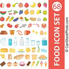 Big set icons food, flat style. Fruits, vegetables, meat, fish, bread, milk, sweets.   isolated on white background. Ingredients collection. Vector illustration
