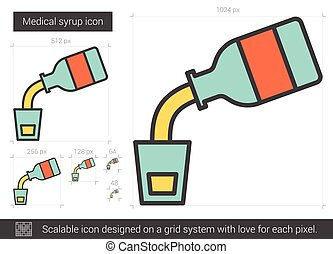Medical syrup line icon. - Medical syrup vector line icon...