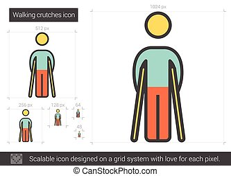 Walking crutches line icon. - Walking crutches vector line...