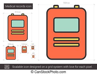 Medical records line icon.