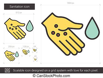 Sanitation line icon. - Sanitation vector line icon isolated...
