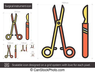 Surgical instruments line icon. - Surgical instruments line...