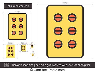 Pills in blister line icon. - Pills in blister vector line...