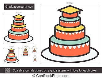 Graduation party line icon. - Graduation party vector line...