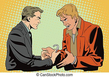 Police handcuffs offender. - Stock illustration. People in...