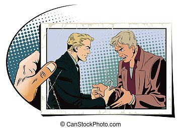 Police handcuffs offender. Hand with photo. - Stock...