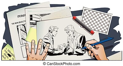 Police handcuffs offender. Hand paints picture. - Stock...