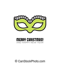 Christmas party mask flat icon. Vector illustration