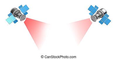 satellites - 3d illustration of two satellites over white...
