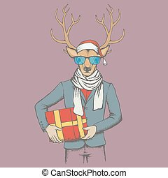 XXX vector illustration - Christmas Deer vector...