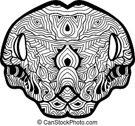 The head of a boa constrictor with patterns. Line art. - Ink...