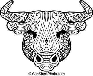 Coloring book for adults. The head of a Buffalo