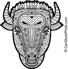 Line art. Monochrome drawing of a bull on white background