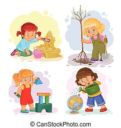 Set icons small girls playing with toys