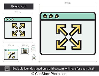 Extend line icon. - Extend vector line icon isolated on...