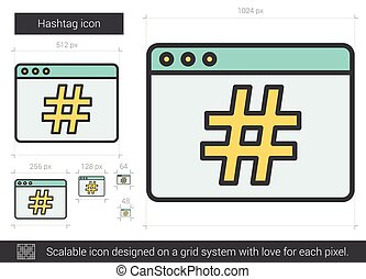 Hashtag line icon. - Hashtag vector line icon isolated on...
