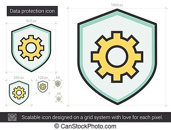 Data protection line icon. - Data protection vector line...