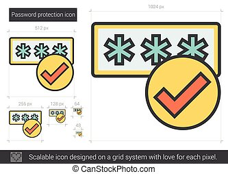 Password protection line icon.