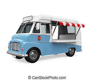 Food Truck isolated on white background. 3D render