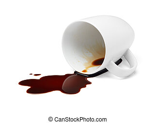 coffee spilling - cup of black coffee spilling causing...