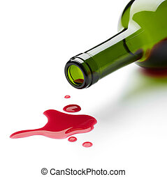 spilling red wine - red wine spilling from the bottle