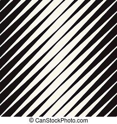 Vector Seamless Black and White Halftone Diagonal Stripes Pattern
