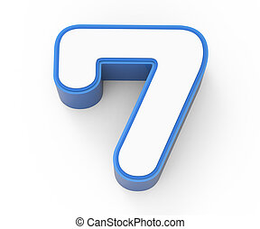 blue framed white number 7
