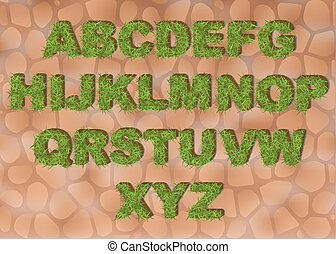 Grass alphabet depicting letters with spring green grass texture for education or ecological concept design. Eco font, clean Earth