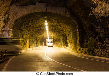 Road tunnel in Monte Carlo - Road tunnel at night in Monte...