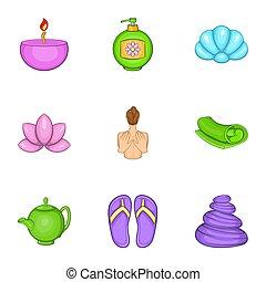 Beauty icons set, cartoon style - Beauty icons set. Cartoon...