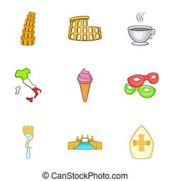Holiday in Italy icons set, cartoon style - Holiday in Italy...
