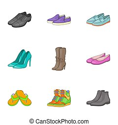 Kind of shoes icons set, cartoon style - Kind of shoes icons...
