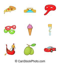 Italy icons set, cartoon style - Italy icons set. Cartoon...