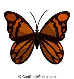 papillon, brun, icône,  Style, dessin animé