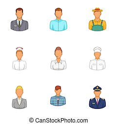 Workers icons set, cartoon style - Workers icons set....