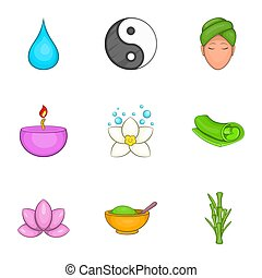 Relaxation icons set, cartoon style - Relaxation icons set....