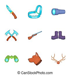 Hike icons set, cartoon style - Hike icons set. Cartoon...