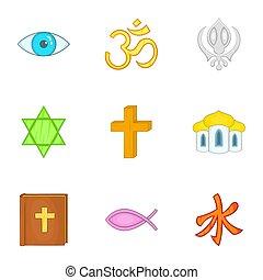 Spirituality icons set, cartoon style - Spirituality icons...