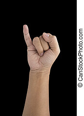 Man making a pinkie symbol of promise isolated on black